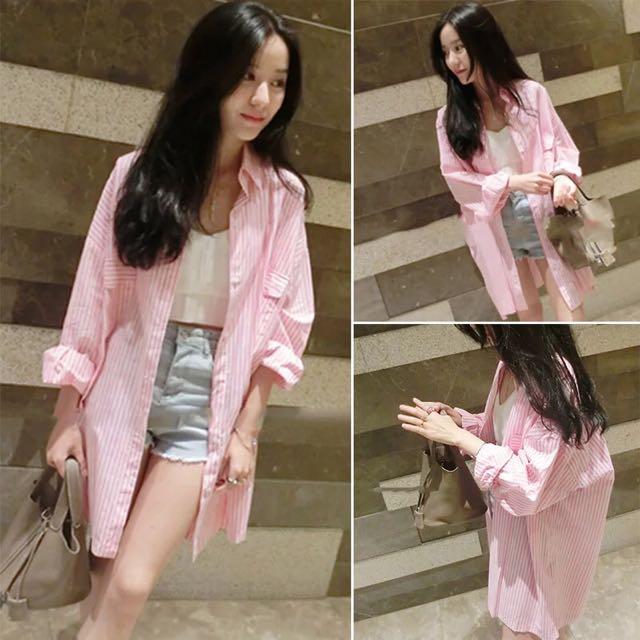 粉紅條紋bf襯衫外套