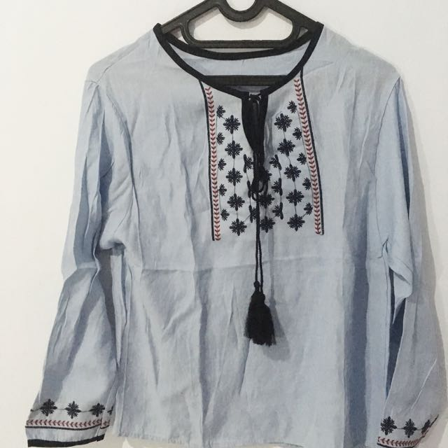 Boho Blouse Soft Blue