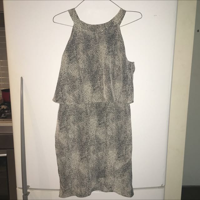 Cream And Black Print Dress