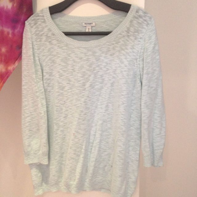 Cute Pastel Blue Over The Shoulder Sweater