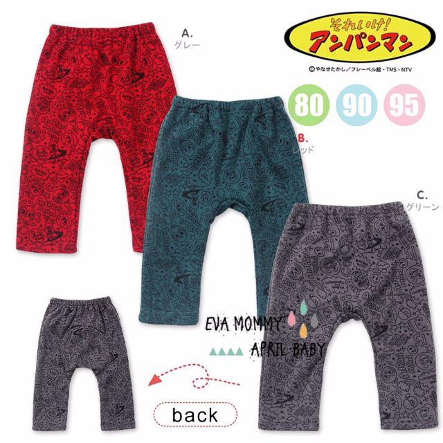 EVA EVA SHOP冬季新品-日本代購麵包超人保暖不倒绒满版九分大PP長褲