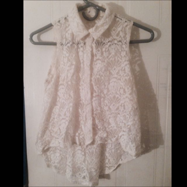 Forever 21 White Floral Top