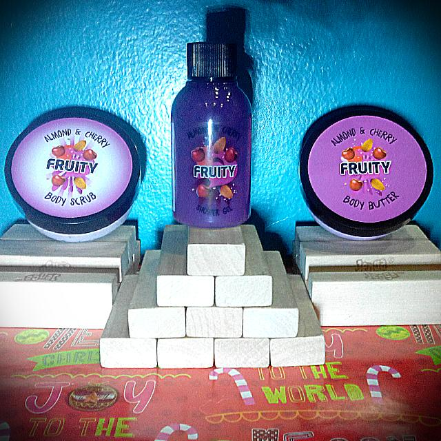 Fruity Star Buy Almond and Cherry Body Scrub, Body Butter, and Shower Gel