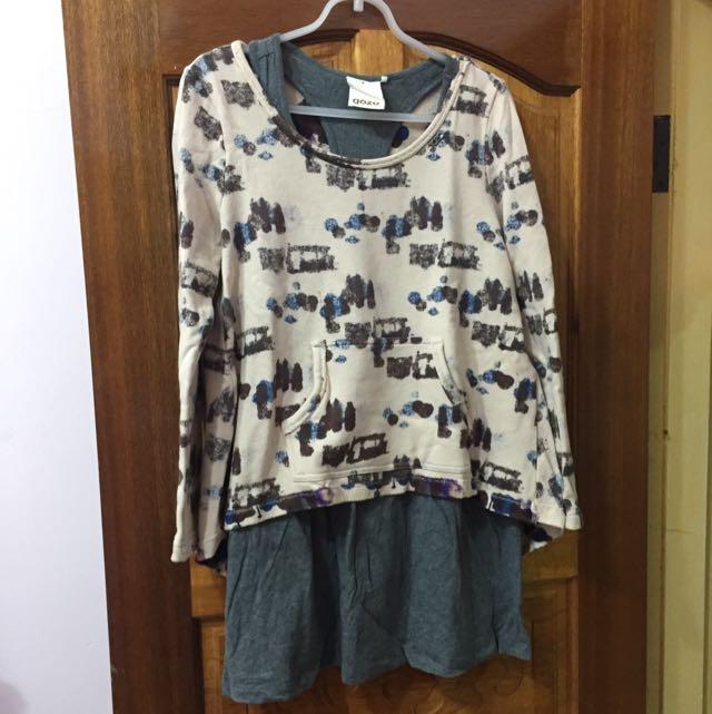 二手/Gozo 渲染前短後長棉T+背心裙二件式