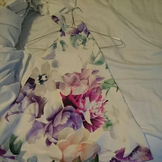Low Back Floral Top, Size 8 AUS