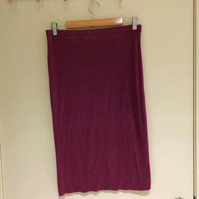 Mid Length Skirt - Purple - Size M