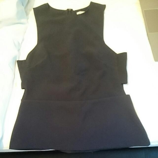 Navy Peplum Top UK Size 10