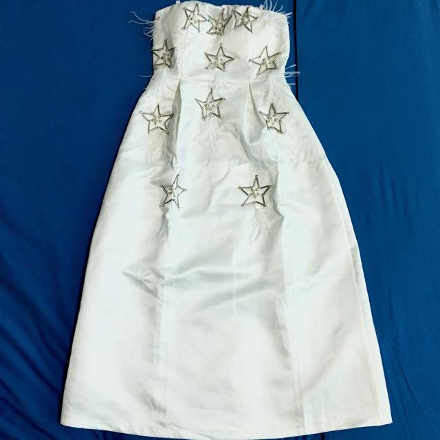 New White Satin Midi Dress