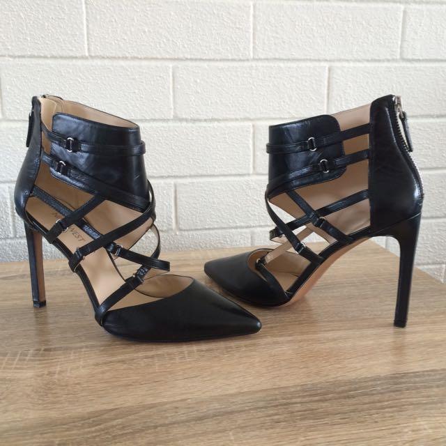 Nine West Black Leather Stilettos 7-1/2