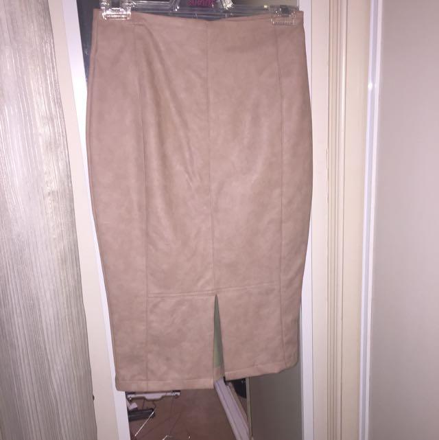 Nude Pleather Skirt