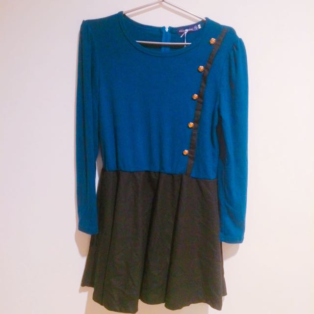 全新轉賣OB嚴選 深藍洋裝 #100元洋裝