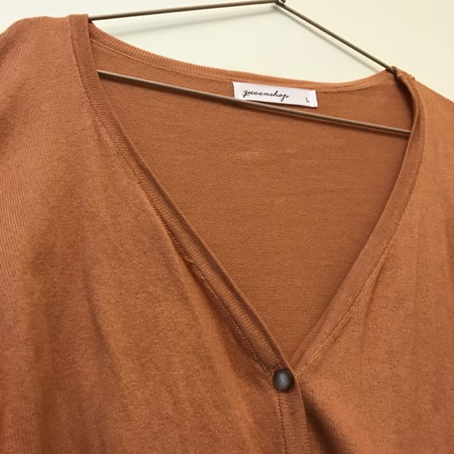 Queen shop 褐色針織罩衫