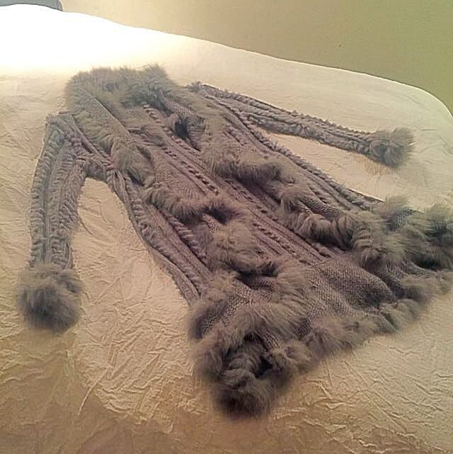 Rabbit Fur And Wool Grey Coat