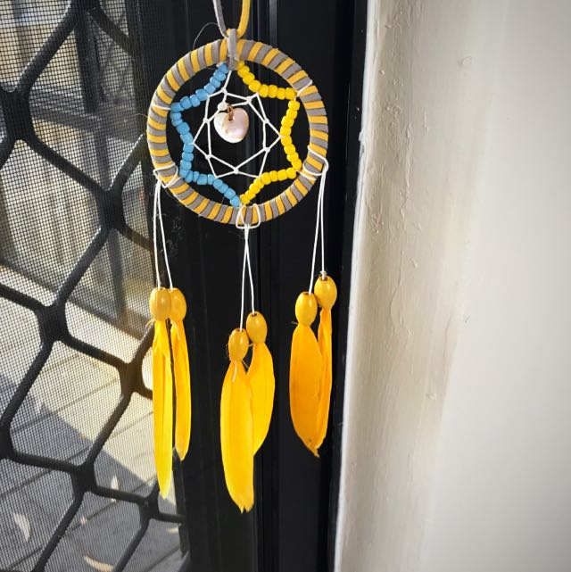 Small Dream Catcher Yellow Soft Feather