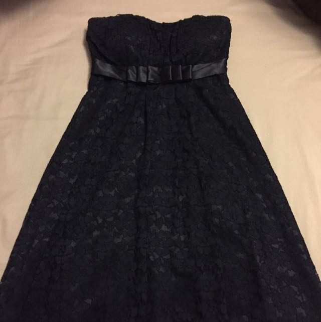 Suzy Shier Black Lace Strapless Dress