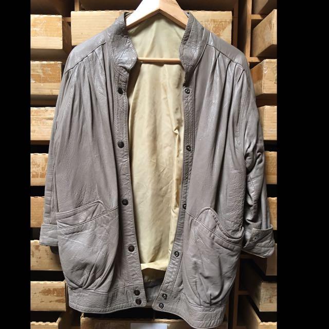 Vintage Leather Jacket Taupe Sz 12-14
