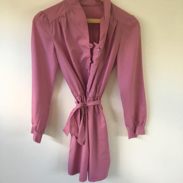 Vintage Pink Long Sleeved Dress S-M