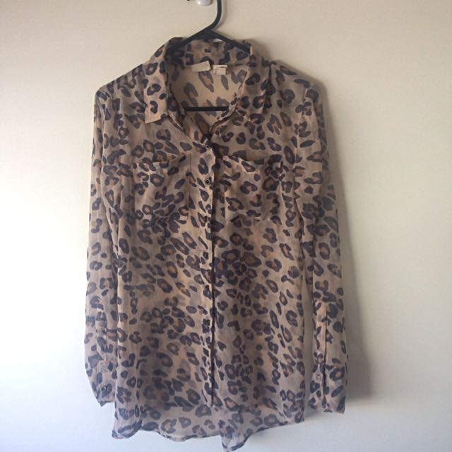 Vintage Sheer Leopard Print Button Down Shirt