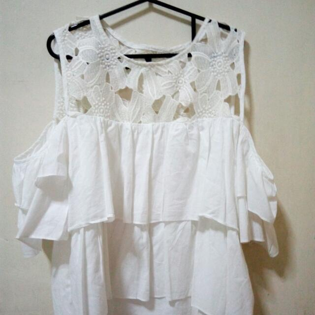 White Floral Flowy Top
