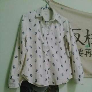 (二手)俏皮斑馬白底長袖襯衫