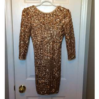 F21 BNWT ROSE GOLD SEQUIN BODYCON DRESS SIZE S