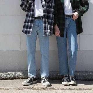 T.J.C 韓系男孩必備款 九分牛仔寬褲