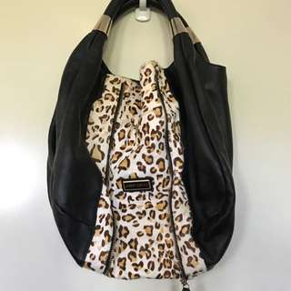 Authentic Leather And Leopard Print Suede Hobo Style Shoulder Bag