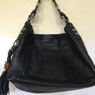 Authentic Black Leather With Silver Hardware And Tassel Shoulder Bag
