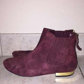 Burgundy Ivanka Trump Size 7.5 Suede Boots