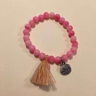 Handmade Beaded Bracelet With Customize Charm Peach Colour Beads 6mm