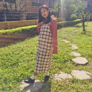 正韓🇰🇷溫暖大格子吊帶長裙
