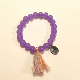 Handmade Beaded Bracelet With Customize Charm Purple/ Lilac Beads 8mm