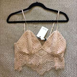 Bardot Lace Crop in Light Pink