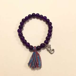 Handmade Beaded Bracelet With Customize Charm Purple Beads 4mm