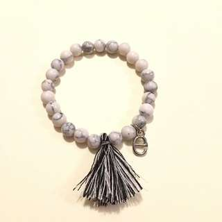 Handmade Beaded Bracelet With Tassel With Customize Charm Marble Beads 4mm