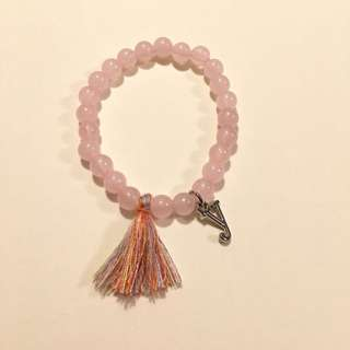 Handmade Beaded Bracelet With Tassel With Customize Charm Pink Beads 4mm