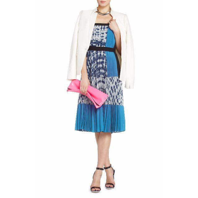 精品全新!Georgette Strapless Pleated Cocktail Dress~#含運最划算
