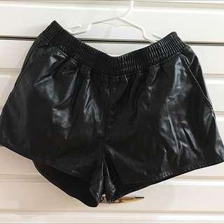HnM Black Leather Short