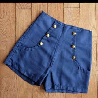 navy nautical high waist short