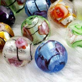 Round Lampwork Glass Flower Loose Beads 12mm  hand made  2 for $6