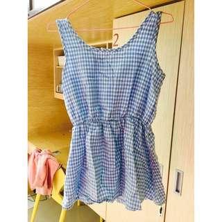 淺藍格子短洋裝