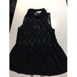 Misshop Black Lace sleeveless blouse
