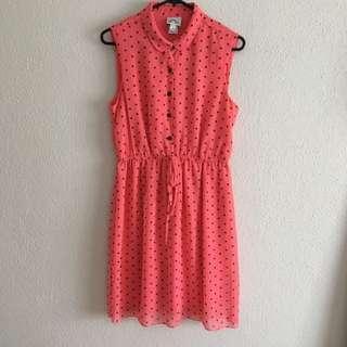 Coral Polka Dot Sleeveless Dress