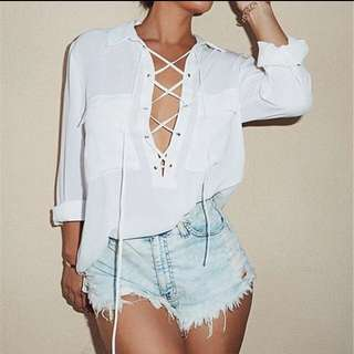 Front lace up blouse