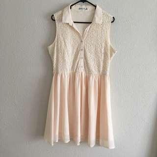 PAPER SCISSORS Cream Sleeveless Dress