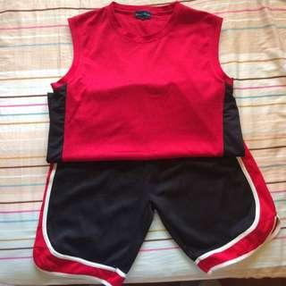 🚚 紅色素面球衣褲(套)