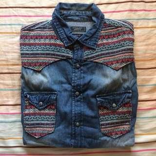 🚚 Zara 民族風 厚牛仔襯衫
