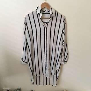 Vertical Stripe Black& Off White Shirt Dress