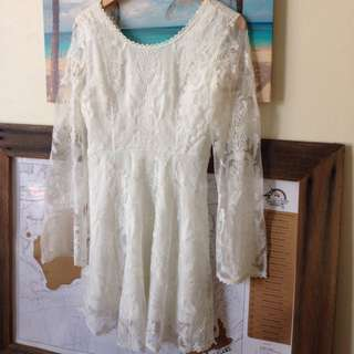 Off White Lace Mini Dress With Long Bell Sleeves