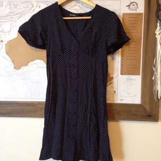 Dangerfield Dress Navy With White Polka Dots